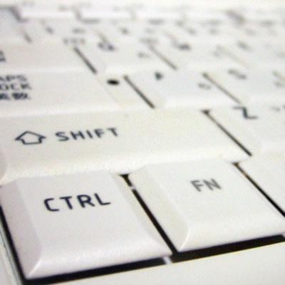 パソコンのキーワードの写真白