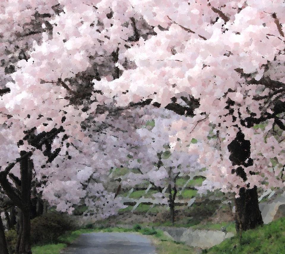 絵画風の桜の木スマホ壁紙