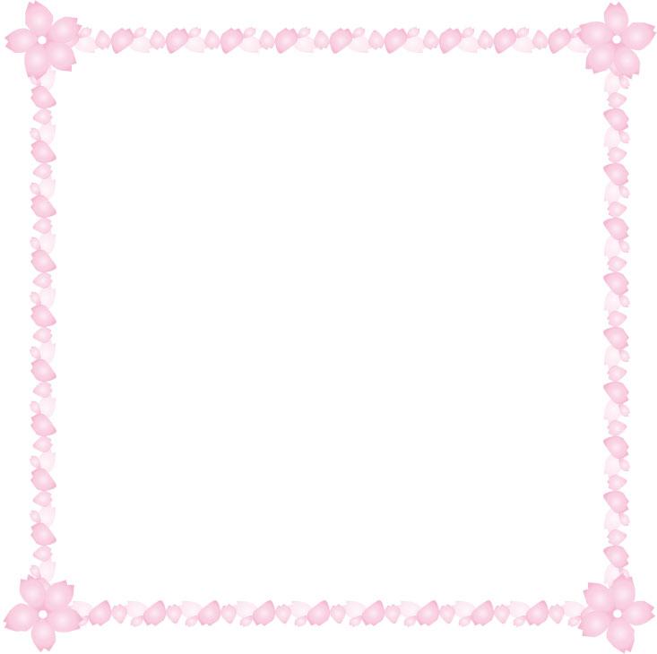 桜と花びらの枠フレーム