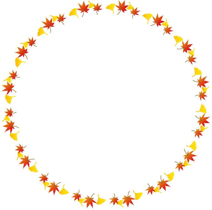 イチョウと紅葉の円形枠素材フレーム