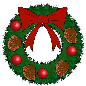 赤いリボンと松ぼっくりと姫リンゴのクリスマスリース