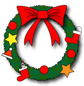 リボンや星など飾り付けしたクリスマスリース