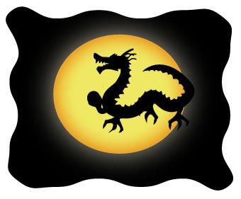 満月とドラゴンのシルエット