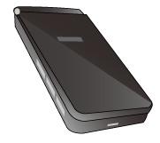 蓋を閉じた携帯電話のブラック