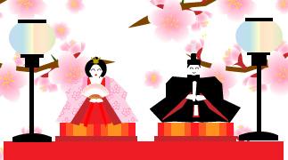桃の花の背景と雛人形