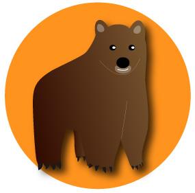 熊とオレンジ色の背景