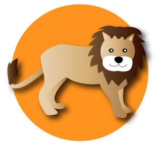 ライオンとオレンジ色の背景