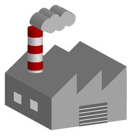 煙突から煙が出ている工場の3D画像