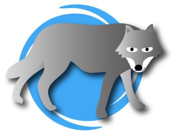 青色の背景と狼