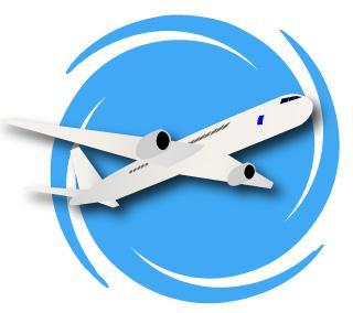 飛行機と旋回する空