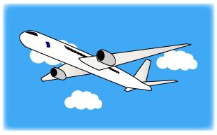 飛行機と水色の空と白い雲