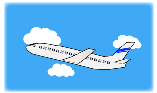 横から見た飛行機と空と雲