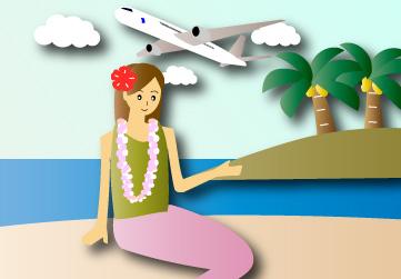 ハイビスカスをつけた女性とヤシの木のある島と海2