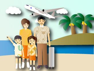 家族旅行とヤシの木のある島と旅客機