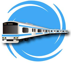 背景つきの立体的な電車