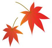 赤い紅葉2枚グラデーション