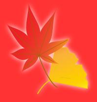 赤背景とぼんやり輝く紅葉