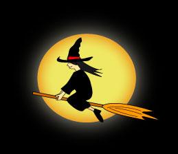 空を飛ぶハロウインの魔女と月