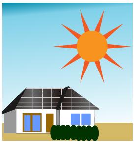ソーラーパネルをつけた家と太陽
