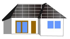 ソーラーパネルを屋根に設置した住宅