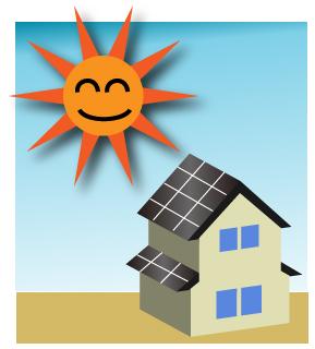 ソーラーパネルをつけた2階建て住宅と太陽