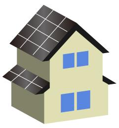 太陽電池を屋根に設置した2階建て住宅