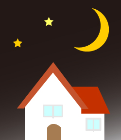 夜空と星と月と小さな家