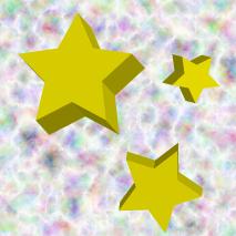 幻想的な背景と立体的な星