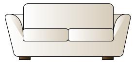 正面から見た2人掛けのソファ/白