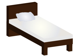 立体的なシングルベッド