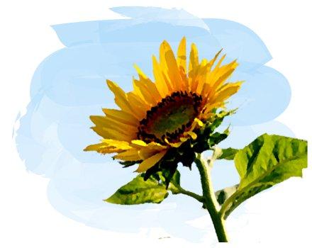 太陽から光をとりいれるヒマワリ絵画風