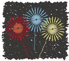塗り絵風の赤・青・黄色の打ち上げ花火