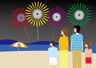 夏の海辺の打ち上げ花火を鑑賞する家族
