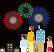 ビルと家が立ち並ぶ街中の打ち上げ花火を鑑賞する家族