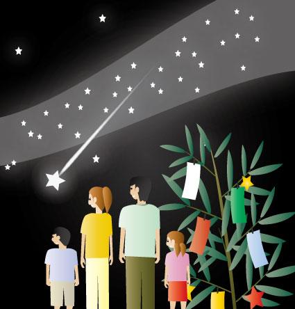 天の川を流れる流星を眺める家族と笹飾り