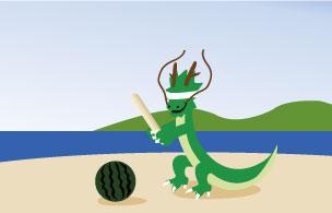 海辺でスイカ割りをする竜キャラ