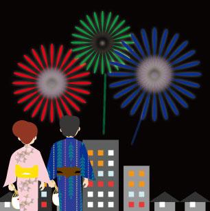 ビルや家屋が立ち並ぶ街中での打ち上げ花火と浴衣を着たカップル