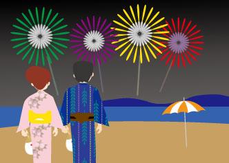 海岸での打ち上げ花火と浴衣を着たカップル