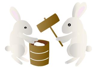 餅を突く2匹の兎/立体的