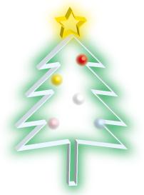 ぼんやりと光るガラス細工のクリスマスツリー