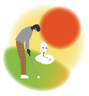 初日の出とパターを打つゴルファーと白蛇
