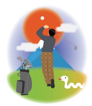 初日の出と富士山に向かってゴルフドライバーを打つ人と白蛇