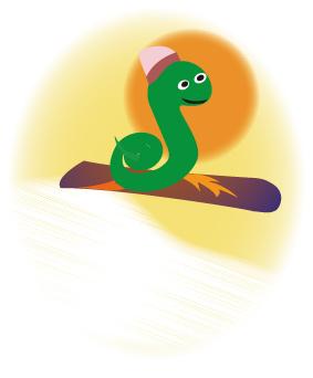 スノボーでジャンプする可愛い蛇キャラ