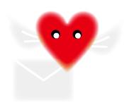 手紙を届けるハートのキャラ