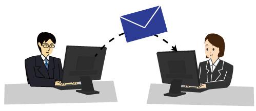 パソコンでメールの送受信をする男性と女性