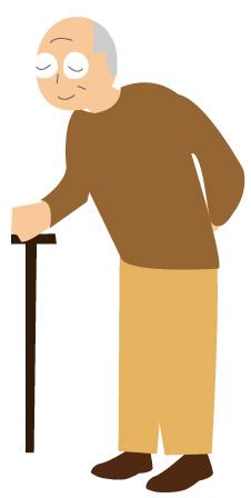 杖をついた老人/おじいさん輪郭なし