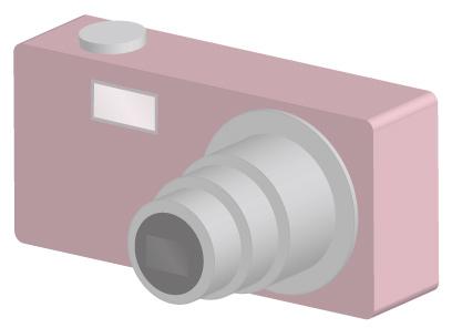 ピンクのコンパクトデジタルカメラ/3D