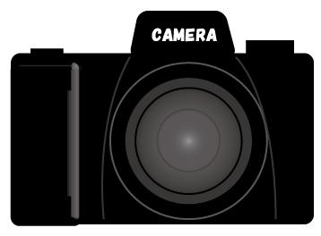 正面から見たデジタル一眼レフカメラ