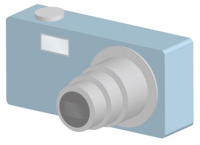 青色のコンパクトデジタルカメラ/3D