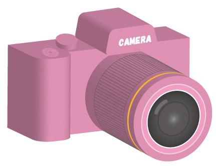ピンク色のデジタル一眼レフカメラ/3D